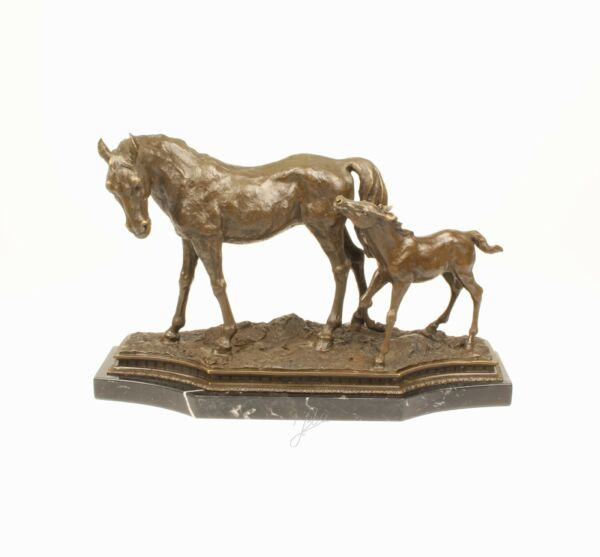 9973337-dss Bronze Sculpture Mare with Foal Horse