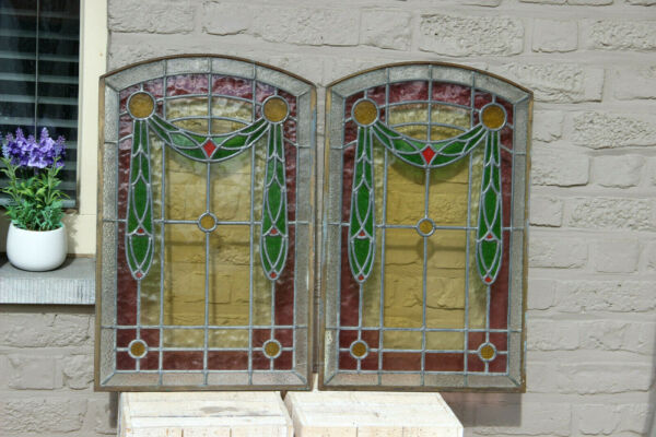 PAIR French antique art nouveau stained glass window panels