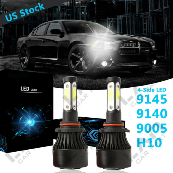 4-Side 9005 HB3 LED Headlight Bulb HiLow Beam 6000K For DODGE Charger 2016-2019