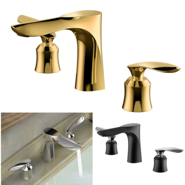 Bathroom Basin Sink Faucet Hot Cold Mixer Spout Bath Tap Dual Handles Deck Mount