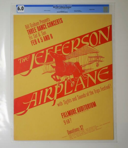The Rarest Fillmore Poster BG -1-OP-1: Jefferson Airplane CGC Grade 6.0