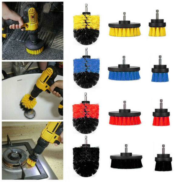 3 Size Power Scrubber Drill Brush Kit Cleaner Spin Shower Tile Grout Wall Tire