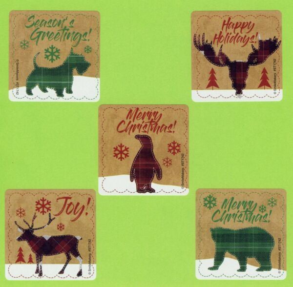 15 Plaid Christmas Animals Large Stickers Party Favors Dog Moose Bear $2.50