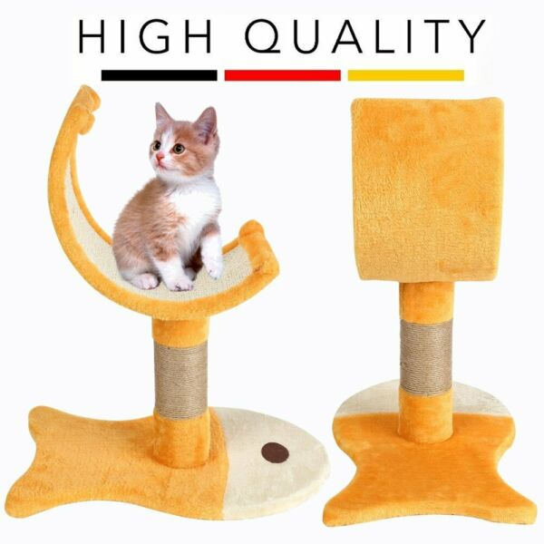 Cat Scratching Posts Fish Shape Scratch Board Cat Claw Grinding Jumping Toy 6W