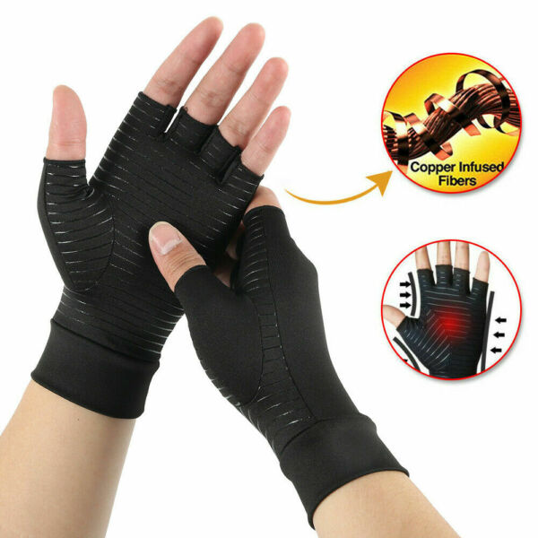 Copper Fit Compression Gloves Arthritis Carpal Tunnel Hand Support Pain Relief