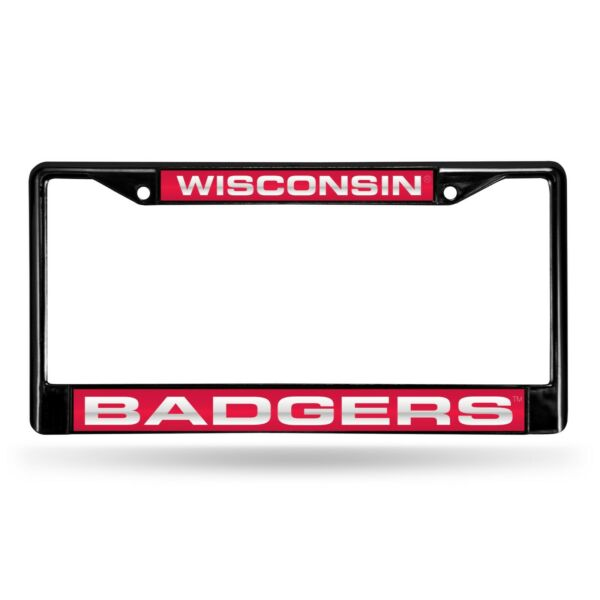 Wisconsin Badgers Black Metal License Plate Frame Tag Cover Laser Cut Inlays