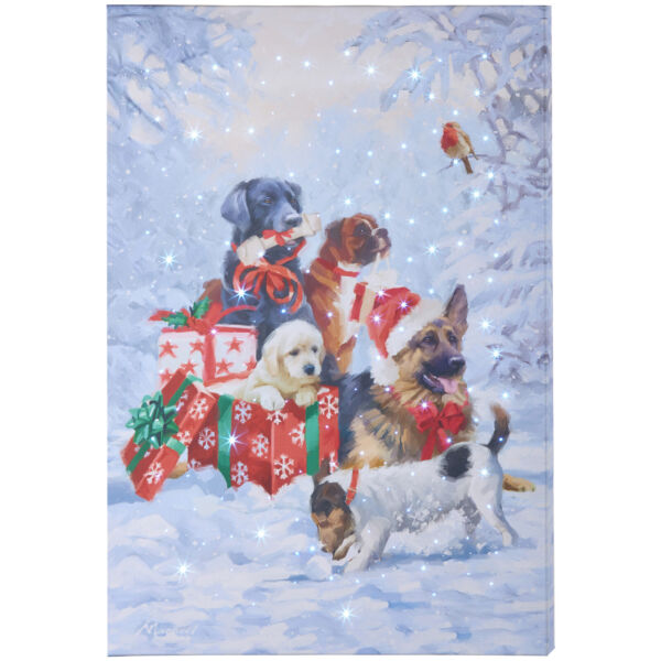 RAZ Imports Lighted Canvas Print Christmas Dogs with Gifts on a Snowy Winter Day $53.99