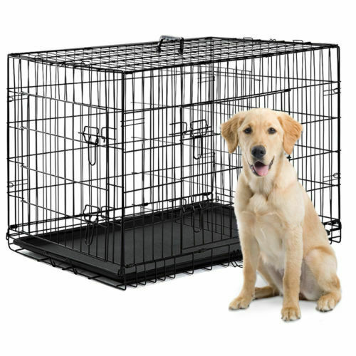 Dog Crate Kennel Folding Metal Pet Cage SMLXLXXL 2 Door with Tray Pan