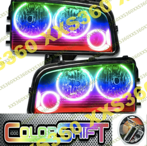 ORACLE TRIPLE Halo HEADLIGHTS non HID Dodge Charger 05-10 LED COLORSHIFT WiFi