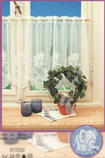 Western Lace Kitchen Curtain Warp Knitted Jacquard Elephants Coffee Curtain