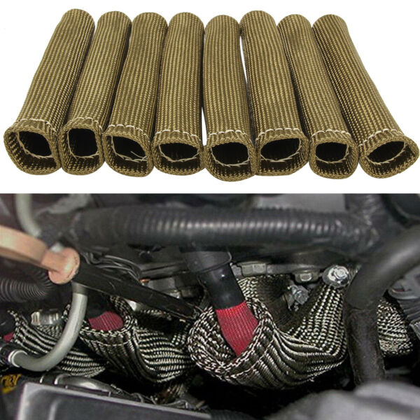 8PCS 2500° Titanium Spark Plug Wire Sleeve Boot Heat Shield Protector Cover US