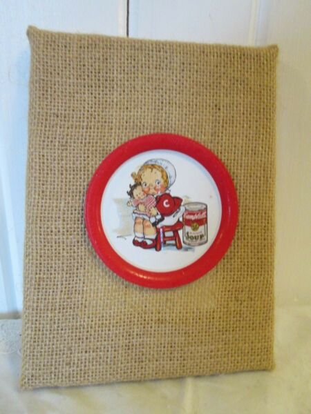 Kitchen Kitch Decor Campbell#x27;s Soup Tin Coaster Girl Doll On Burlap Frame 6quot; x 8