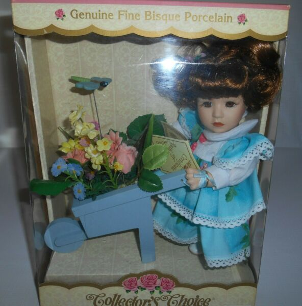 Vintage Collector's Choice Hand Painted Fine Bisque Porcelain Doll W Flower Cart