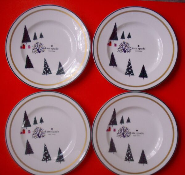 KATE SPADE HOLIDAY SALAD PLATES ARBOR VILLAGE CHRISTMAS TREES SET 4 NEW