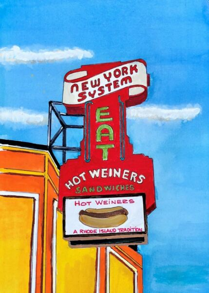 Hot Wieners Watercolor Art Print RI New York System Dog Diner Kitchen Food Gift $21.79