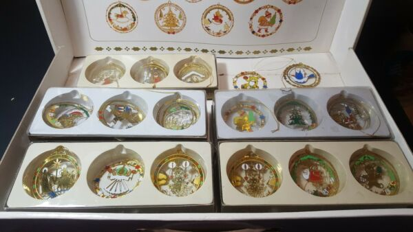 Vintage Solid Brass Christmas Ornaments Lot Of 29 Painted 2-Sded Etched 3-D   4F