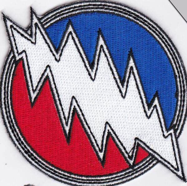 GRATEFUL DEAD - RED WHITE & BLUE  LARGE LIGHTNING BOLT - IRON or SEW-ON PATCH