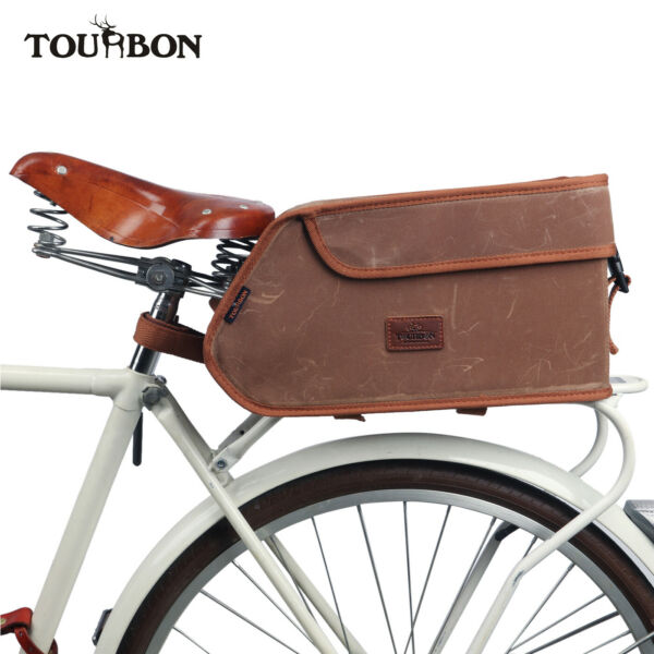 Tourbon Wax Canvas Bike Trunk Bag Insulation Cooler Pack Rear Carrier Pannier $45.75