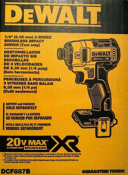 Brand New DEWALT DCF887B 20-Volt MAX XR 3-Speed 14 in Impact Driver Tool-Only