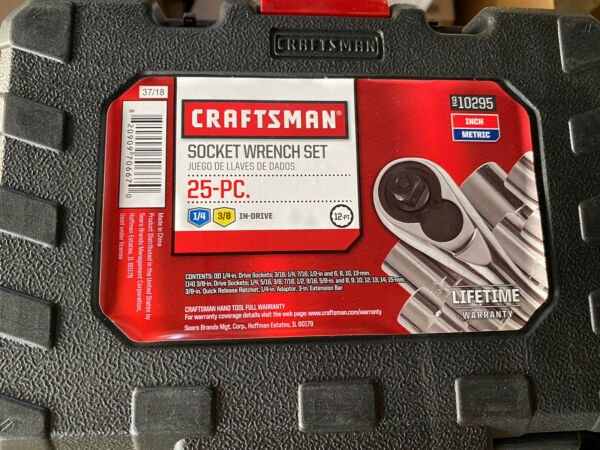 CRAFTSMAN 25Pc. Piece 3 8quot; amp; 1 4quot; Dr Standard amp; Metric Socket Wrench Set 10295