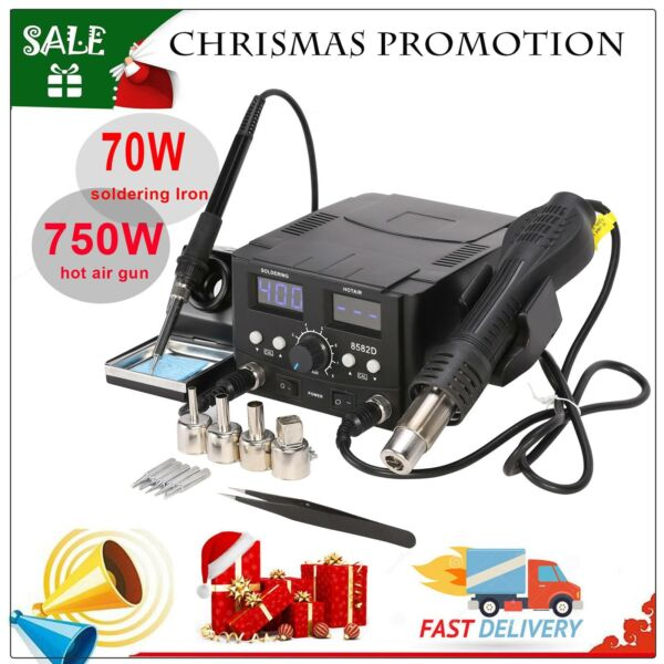 2 in1 SMD Rework Soldering Station hot Air Gun Solder Iron DC Power Supply 8528D