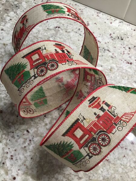 "5 Yds Of 2 1 2"" Wired Adorable Christmas Faux Burlap Ribbon With Train And Tree"