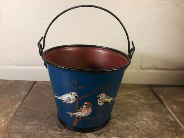 Vintage Hand Painted Bucket Country Decoration - Birds on Branch! Pail Handle!