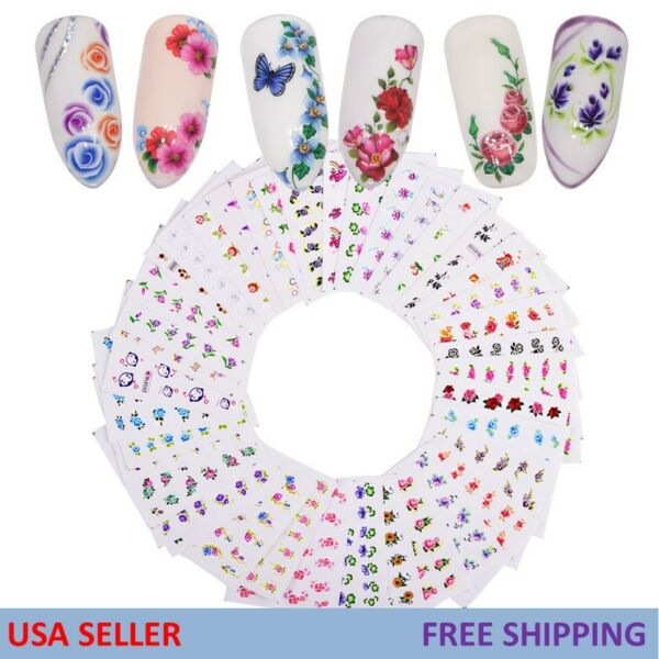 Women Girl Nail Art Sticker Water Transfer Stickers Flower Decal Tips Decoration