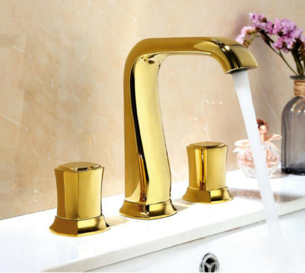 Bathroom Basin Sink Mixer Bathtub Tap Hot Cold Faucet Deck Mount Double Handles