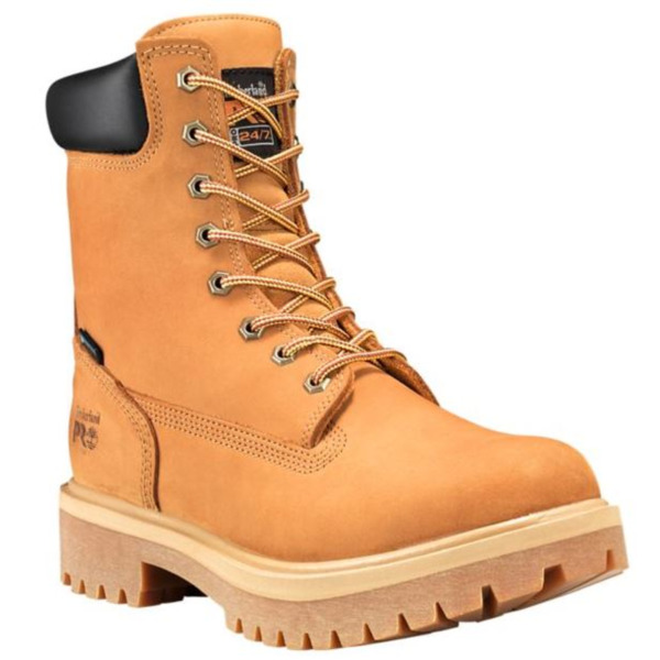 Timberland PRO 8 Inch Wheat Soft or Steel Toe DirectAttach Leather Work Boots $129.95