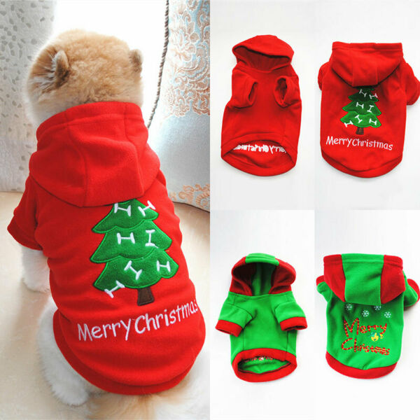 Cute Christmas Dog Clothes Pet Xmas Costumes Winter Clothing Hooded Sweaters $4.26