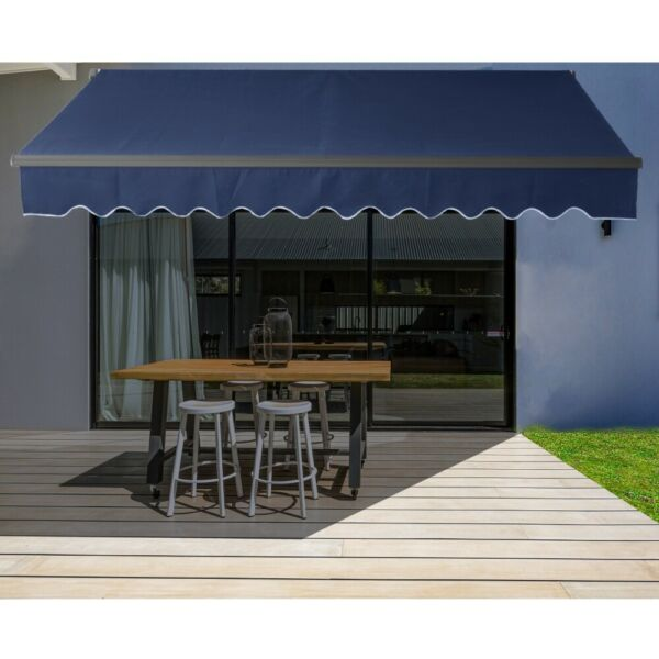ALEKO Motorized Black Frame Retractable Home Patio Canopy Awning 16'x10' Blue