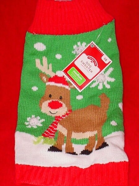 HOLIDAY TIME CHRISTMAS DOG SWEATER * RED WHITE GREEN *WITH REINDEER * NEW *CUTE* $7.99