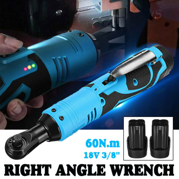 18V Rechargeable 38'' Cordless Electric Ratchet Right Angle Wrench W Battery
