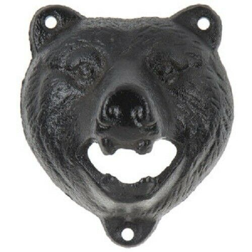 Wall Bottle Opener Cast Iron Black Bear Rustic Nature Lodge Decor NEW