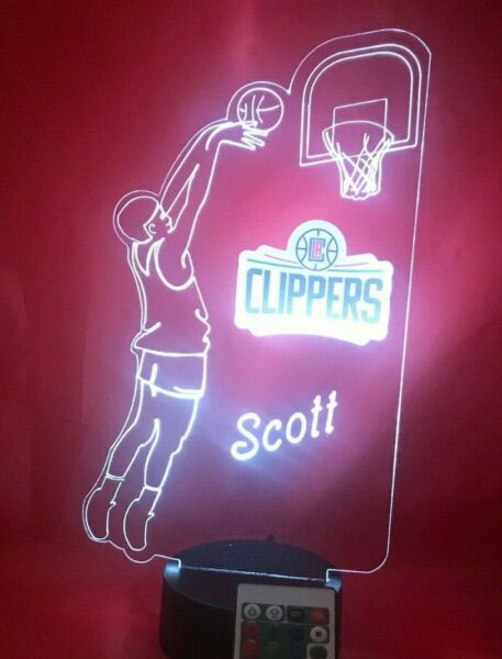 Los Angeles Clippers LA NBA Basketball Player Light Personalized Lamp LED Remote