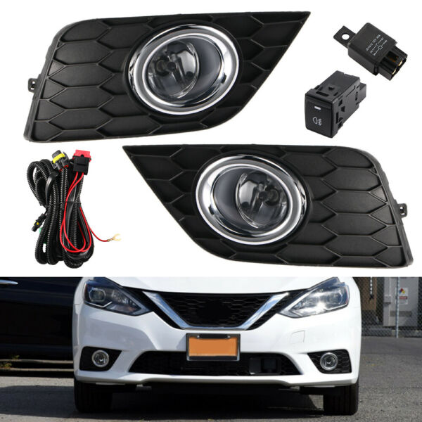 Pair Clear Lens Fog Light Lamp + Wiring + Switch Kit For 2017-2019 Nissan Sentra