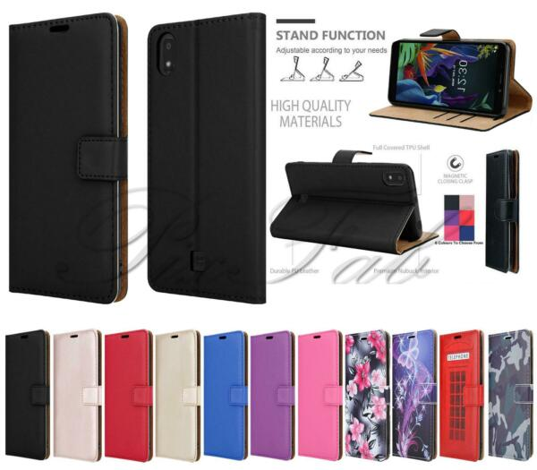 For LG K20 2019 Premium Leather Wallet Stand Phone Case Cover Tempered Glass GBP 4.95