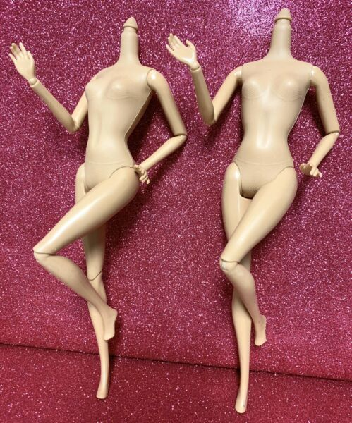 """DIY OOAK TWO Replacement Doll Body LOT Caucasian Tan """"C"""" #4 Jointed Articulated"""
