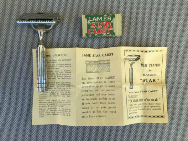 Set of Two Antique Shaver Star in Box Barber Collection French Antique