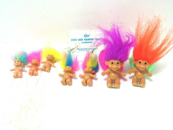 EARRINGS Necklace Scrunchi Hair Ties GOOD LUCK RAINBOW HAIRED Russ Troll Dolls