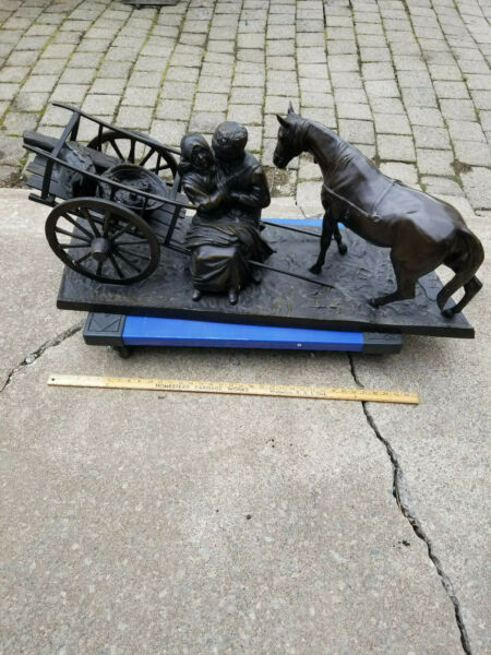 Outstanding Bronze Sculpture -Country Scene-ManWomanCartHorse--Signed Moreau
