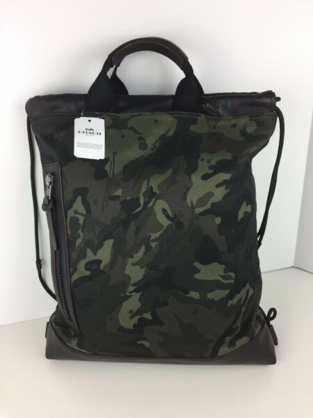 COACH F76784 Terrain Drawstring Backpack Book Bag Canvas Leather Ink Camo NWT $134.88