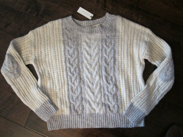 NWT - Anthropologie Sleeping on Snow- Cable Knit Sweater - Med - CreamGray