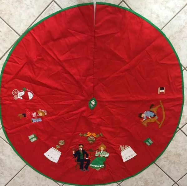 "Vintage House Of Hatten Christmas Tree Skirt Applique 54"" Diameter"