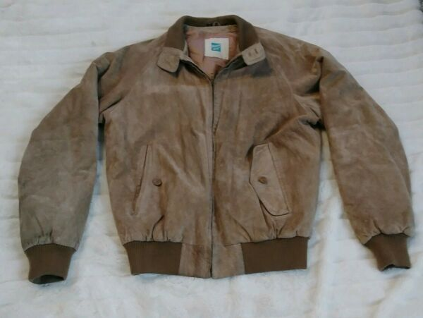 Tannery West Brown Suede Leather Jacket Mens Size S
