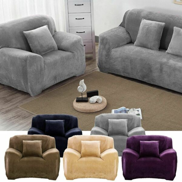 1-4 Seaters Universal Sofa Funda Couch Cover Stretch Slipcover Easy Instal Plush $19.29