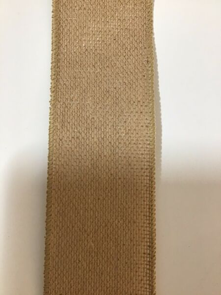 """10 Yds 2 1 2"""" Wired Edge Natural Colored Faux Burlap Ribbon"""