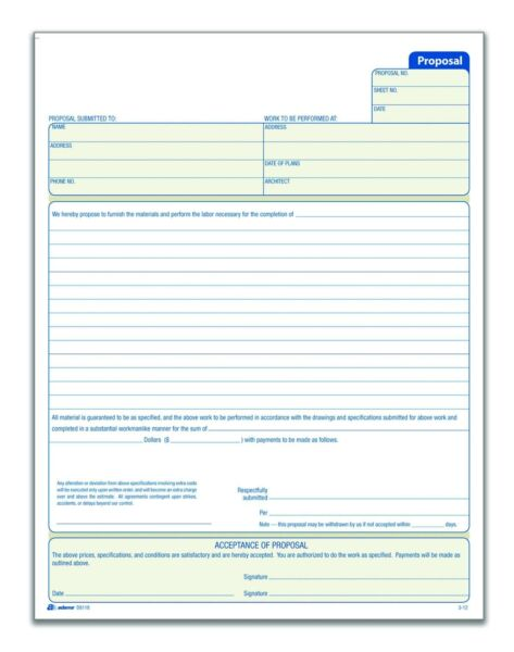 Adams Proposal Book 2 Part with Carbon 8.38 x 11.44 Inches White 50 Sheets $10.09