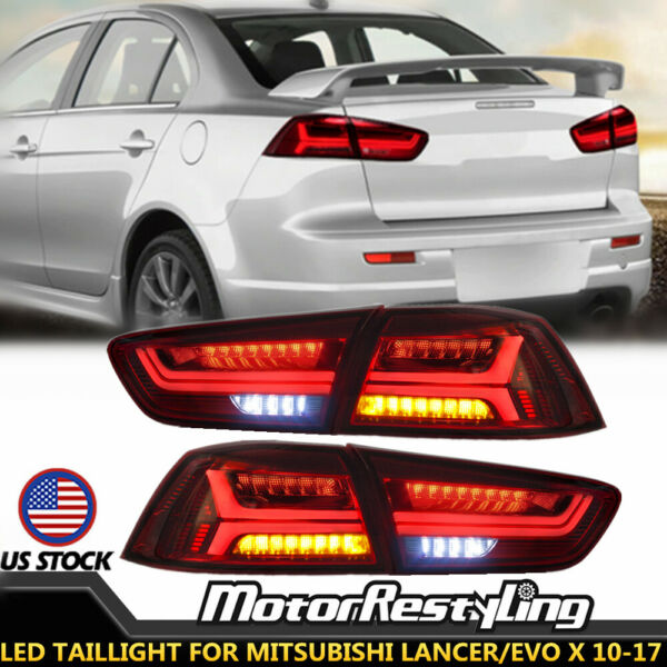 2X LED Taillights For MITSUBISHI LANCEREVO X 10-17 Sequential Turn Signal Lamp